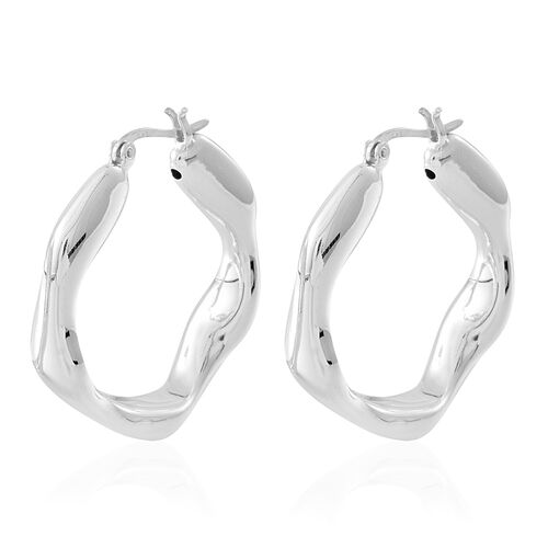 Statement Collection-Sterling Silver Hoop Earrings (with Clasp), Silver wt. 8.00 Gms.
