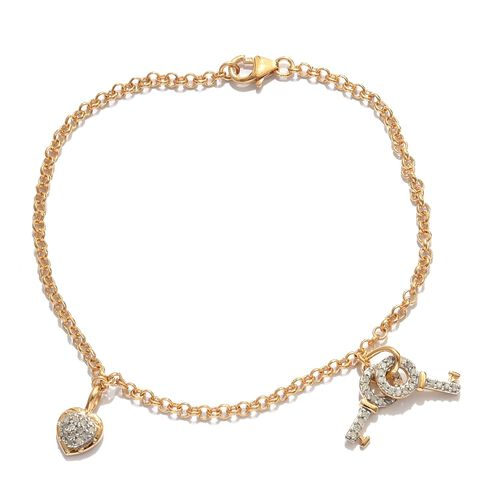 Diamond 0.25 Ct Heart and Key Charm Silver Bracelet in Gold Overlay (Size 7.5)