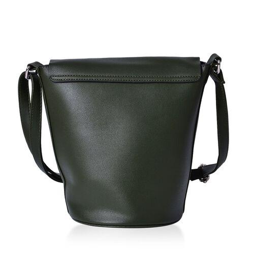 Greenwich Classic Structured Dark Green Messenger Bag with Adjustable Shoulder Strap ( Size 24.5x24x16x16 Cm)