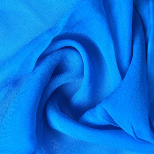 100% Mulberry Silk Scuba Blue Colour Scarf with Satin Border (Size 160X60 Cm)