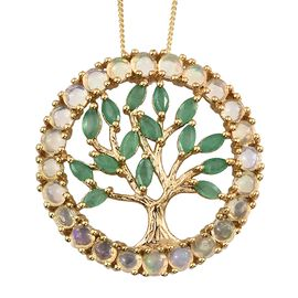Ethiopian Welo Opal (Rnd), Kagem Zambian Emerald Tree of Life Pendant with Chain in 14K Gold Overlay Sterling Silver 3.000 Ct.