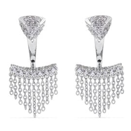 JCK Vegas Collection Natural Cambodian Zircon Earrings in Platinum Plated Silver (with Push Back)