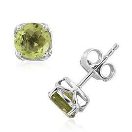 9K White Gold 1.50 Ct AAA Hebei Peridot Solitaire Stud Earrings (with Push Back)