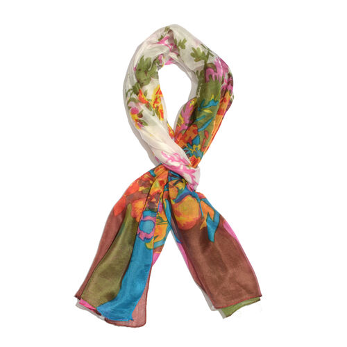 100% Mulberry Silk Pink, White and Multi Colour Floral Hand Screen Printed Scarf (Size 180X50 Cm)