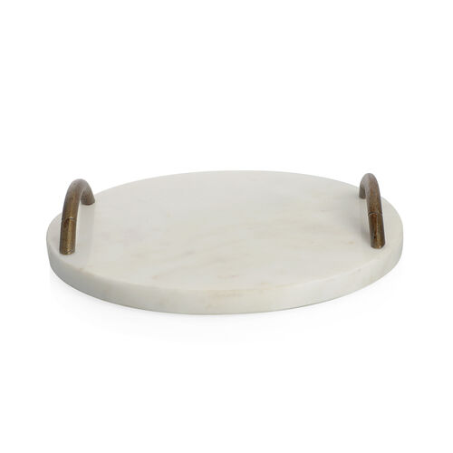 Circular Shape Marble Cake Tray with Handle (Size 23X23 Cm)