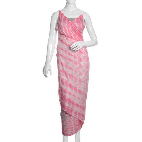 Pink and White Colour Shibori Printed Sarong (Free Size)