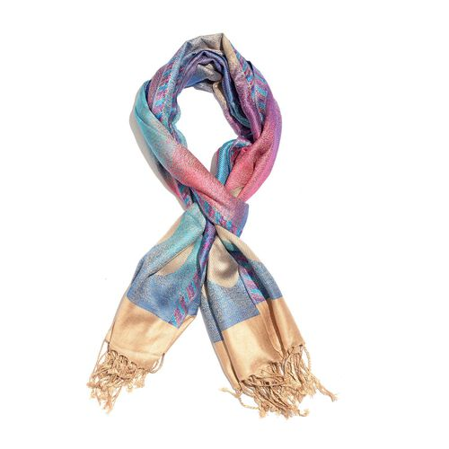 Limited Edition- Designer Inspired-Blue, Pink and Multi Colour Jacquard Scarf with Tassels (Size 180X70 Cm)