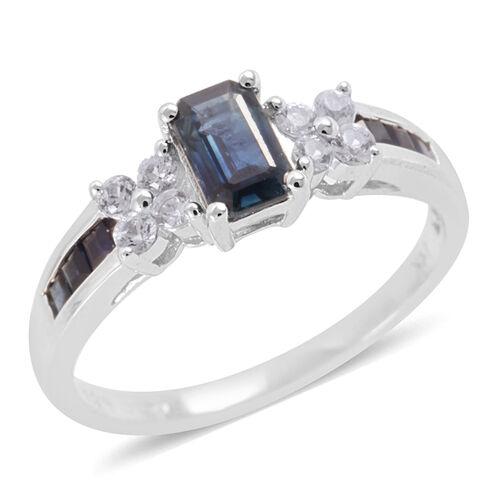 14K W Gold AAA Kanchnaburi Blue Sapphire (Oct 0.50), White Topaz Ring 1.100 Ct.