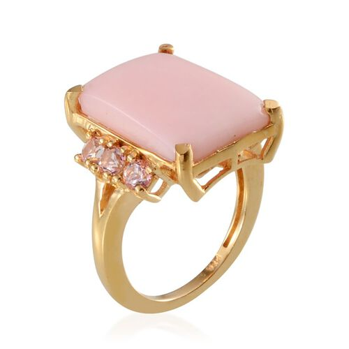 Peruvian Pink Opal (Oct 7.25 Ct), Signity Baby Pink Topaz Ring in 14K Gold Overlay Sterling Silver 8.000 Ct.