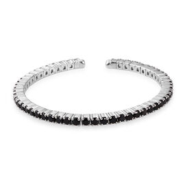 8.16 Ct Boi Ploi Black Spinel Bangle in Platinum Plated Silver 16.68 gms 7 Inch