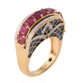 GP African Ruby (Sqr), Kanchanaburi Blue Sapphire Ring in 14K Gold Overlay Sterling Silver 3.750 Ct.