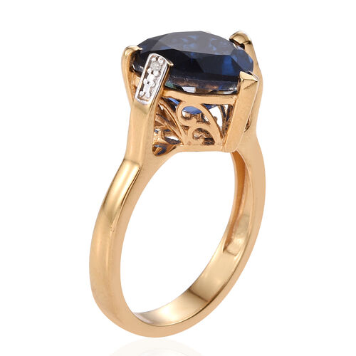 Ceylon Colour Quartz (Hrt 5.75 Ct), Diamond Ring in 14K Gold Overlay Sterling Silver 5.760 Ct.