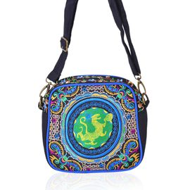 One Time Deal-Shanghai Collection Dragon Embroidered Crossbody Bag with Adjustable and Removable Shoulder Strap (Size 18.5X17.5X7.5 Cm)