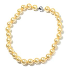 Golden Colour Shell Pearl Ball (15-17mm) Necklace (Size 20) with Magnetic Clasp in Rhodium Plated Sterling Silver