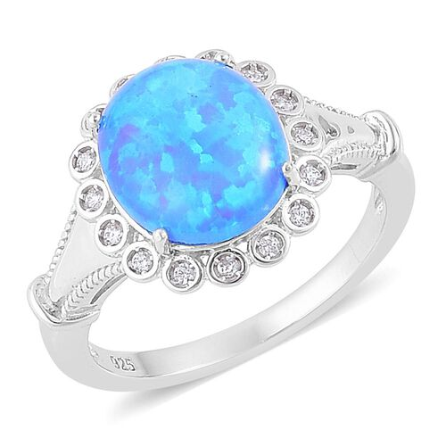 New Concept - AAAA Simulated Ocean Blue Opal and Simulated White Diamond Ring in Rhodium Plated Sterling Silver