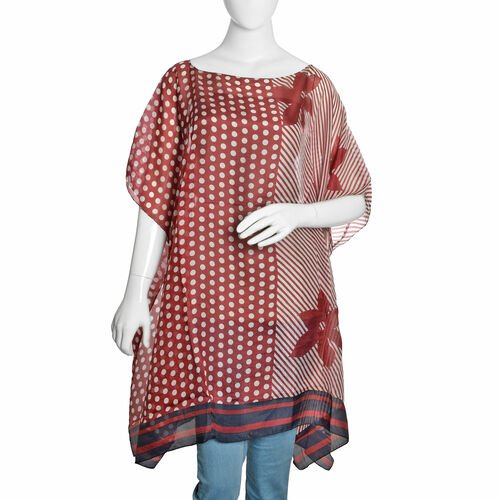 100% Mulberry Silk Burgundy and White Colour Handscreen Floral, Polka Dots and Stripes Printed Kaftan (Free Size)