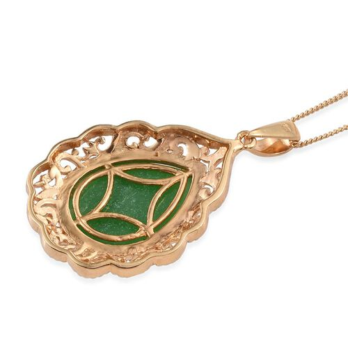 Green Jade (Pear) Solitaire Pendant With Chain in 14K Gold Overlay Sterling Silver 10.250 Ct.