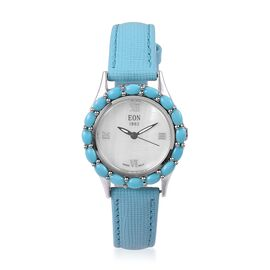 EON 1962 Swiss Movement White MOP Dial 3ATM Water Resistant Watch with Arizona Sleeping Beauty Turquoise in Sterling Silver, Silver wt 8.00 Gms.