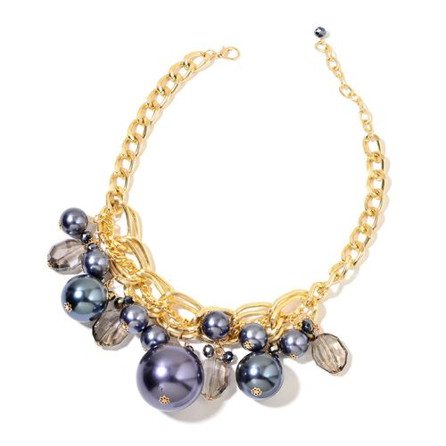 Simulated Peacock Pearl and Simulated Smoky Quartz Necklace (Size 18 with 3 inch Extender) and Hook Earrings in Yellow Gold Tone with Stainless Steel