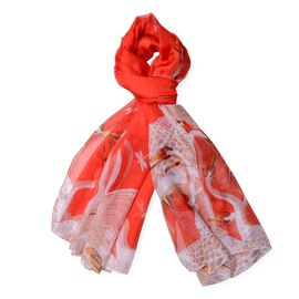 Designer Inspired - Red, White and Multi Colour Crane and Dragonfly Pattern Scarf (Size 190x140 Cm)