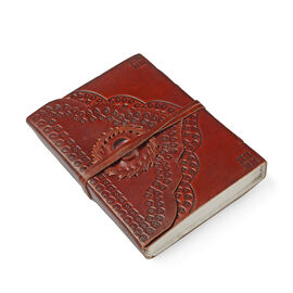 Handmade Paper Notebook with Rose Quartz Studded Genuine Leather Embossed Cover (Size 17x12 Cm)