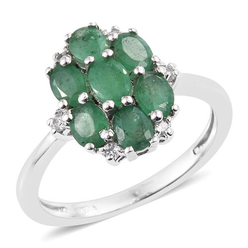 Zambian Emerald, Natural Cambodian Zircon 1.25 Ct Silver Cluster Ring in Platinum Overlay