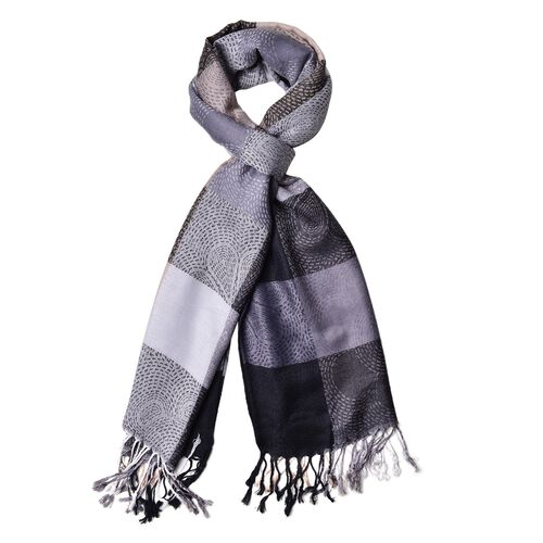Black, Grey and Multi Colour Checker Pattern Scarf with Tassels (Size 185X70 Cm)