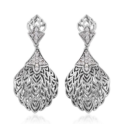 J Francis - Platinum Overlay Sterling Silver (Rnd) Earrings (with Push Back) Made with SWAROVSKI ZIRCONIA.Silver Wt 11.00 Gms