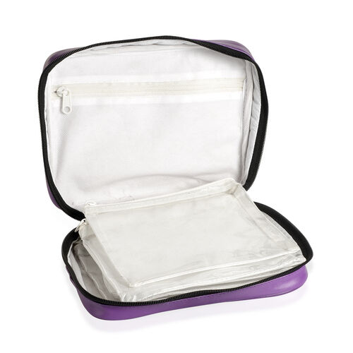 Purple Colour Travelling Jewellery Bag (Size 25x20x6 Cm) with 5 Transparent Zipper Pouch (Size 19x15 Cm)