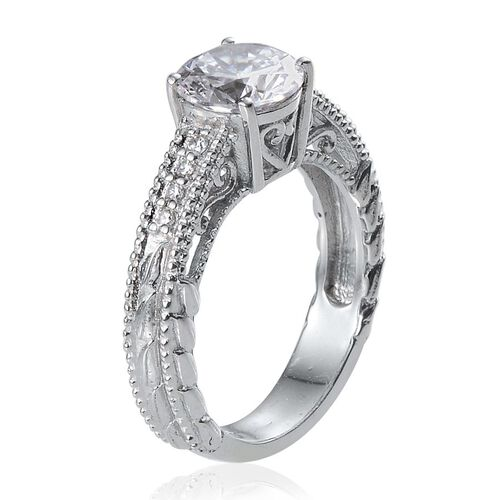 ELANZA AAA Simulated Diamond (Rnd) Ring in Platinum Overlay Sterling Silver