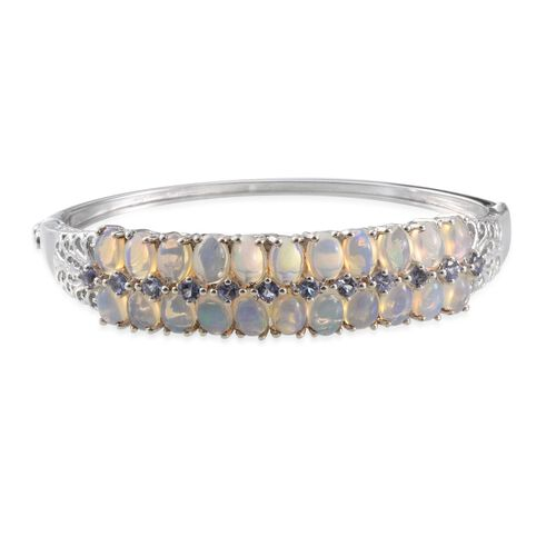 Ethiopian Welo Opal (Ovl), Tanzanite Bangle in Platinum Overlay Sterling Silver (Size 7.5) 11.000 Ct.