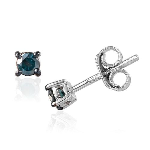 Blue Diamond (Rnd) Stud Earrings (with Push Back) in Platinum Overlay Sterling Silver 0.250 Ct.