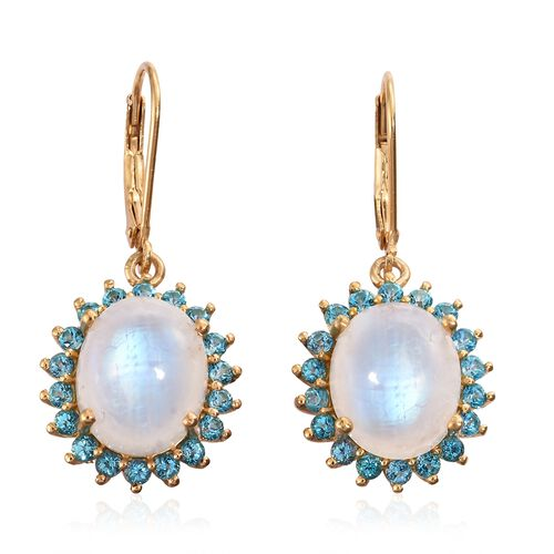 Sri Lankan Rainbow Moonstone (Ovl), Signity Pariaba Topaz Lever Back Earrings in 14K Gold Overlay Sterling Silver 12.250 Ct.