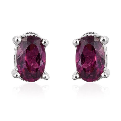 Rare Mozambique Grape Colour Garnet (Ovl) Stud Earrings (with Push Back) in Platinum Overlay Sterling Silver 0.500 Ct.