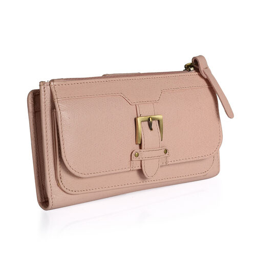 Summer New Collection Genuine Leather Baby Pink Colour RFID Blocker Ladies Wallet with Buckle Flap (Size 19x10.5x3 Cm)