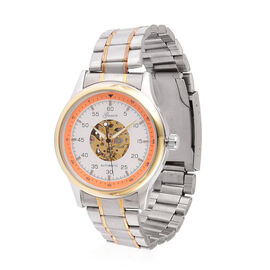 GENOA Automatic Skeleton White Dial Watch in Yellow Gold and Silver Tone with Stainless Steel and Glass Back
