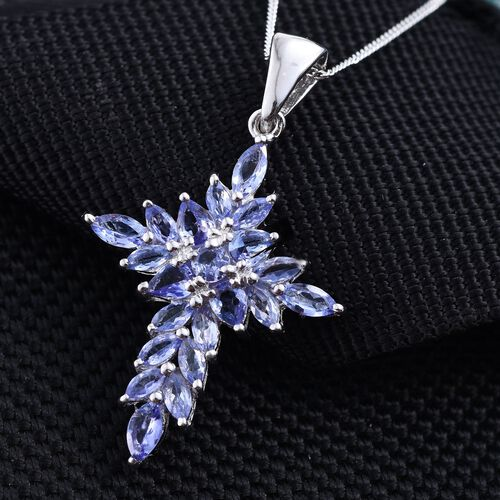 Tanzanite (Pear) Pendant With Chain in Platinum Overlay Sterling Silver 2.00 Ct.