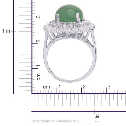 Emerald Quartz (Rnd 5.75 Ct), White Topaz Ring in Platinum Overlay Sterling Silver 7.750 Ct.