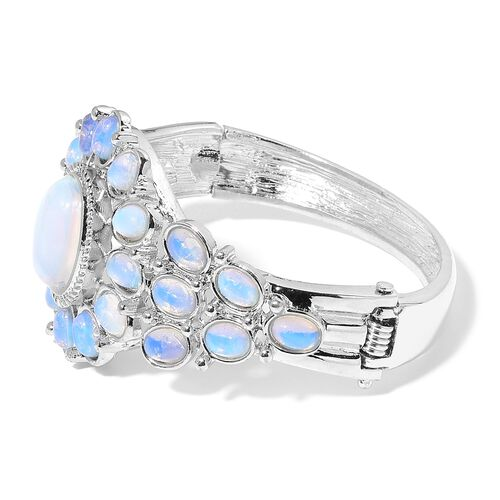 Designer Inspired-Opalite Egyptian Style Bangle (Size 7) in Silver Tone 50.000 Ct.