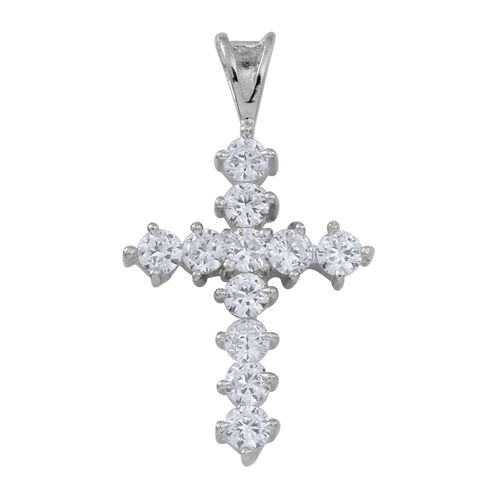 ELANZA AAA Simulated White Diamond (Rnd) Cross Pendant in Rhodium Plated Sterling Silver