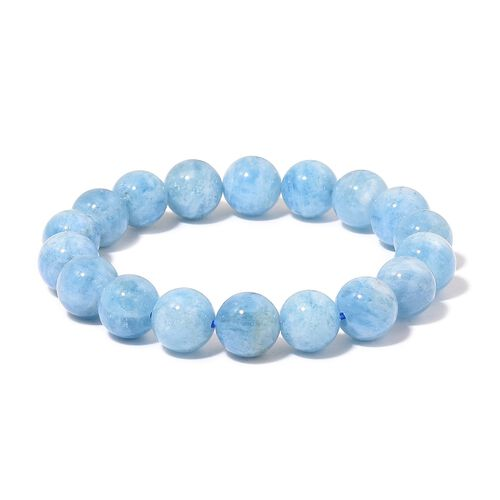 AAA Rare Espirito Santo Aquamarine Stretchable Ball Beaded Bracelet (Size 6.75) 202.000 Ct.