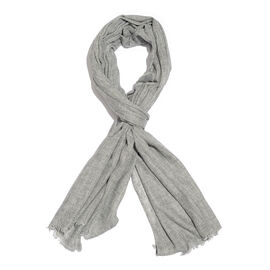 Cashmere & Merino Wool Blend Grey Colour Scarf with Fringes (Size 200X65 Cm)