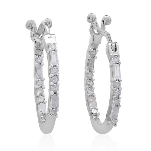 Diamond (Rnd and Bgt) Hoop Earrings (with Clasp Lock) in Platinum Overlay Sterling Silver 0.500 Ct.