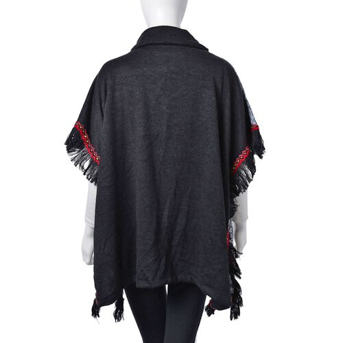 Black, Red and Multi Colour Rhombus Pattern Turtle Neck Poncho with Tassels (Free Size)