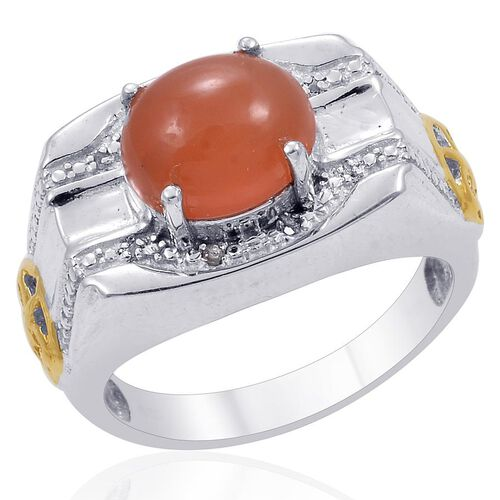 Designer Collection Orange Moonstone (Ovl 4.25 Ct), Diamond Ring in 14K YG and Platinum Overlay Sterling Silver 4.290 Ct.