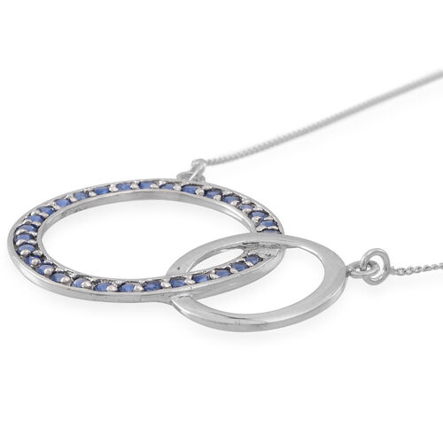 Kanchnaburi Blue Sapphire (Rnd) Circle of Life Link Necklace (Size 18) in Rhodium Plated Sterling Silver 1.500 Ct.