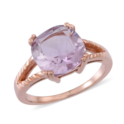 Rose De France Amethyst (Cush) Solitaire Ring in Rose Gold Overlay Sterling Silver 4.000 Ct.