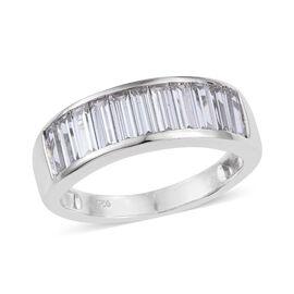 J Francis - Platinum Overlay Sterling Silver (Bgt) Half Eternity Band Ring Made with SWAROVSKI ZIRCONIA. Silver wt. 3.55 Gms.