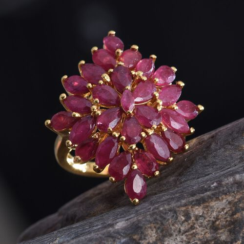 African Ruby (Mrq) Cluster Ring in 14K Gold Overlay Sterling Silver 8.750 Ct.