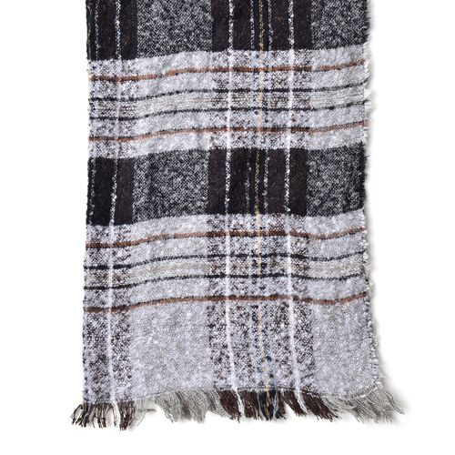 New Season-Black and Grey Colour Checks Pattern Scarf with Fringes (Size 90X66 Cm)